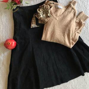 Black Suede Midi Skirt, Size 8